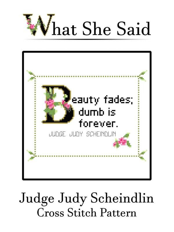 Judge Judy Scheindlin Cross Stitch Pattern