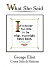 George Eliot Cross Stitch Pattern