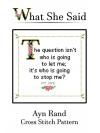 Ayn Rand Cross Stitch Pattern