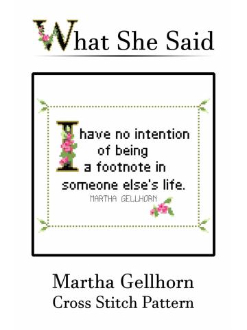 Martha Gellhorn Cross Stitch Pattern No. 1
