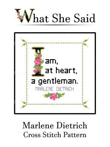 Marlene Deitrich Quote Cross Stitch Chart